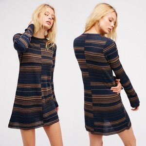 Free People Rave On Striped Sweater Mini Dress